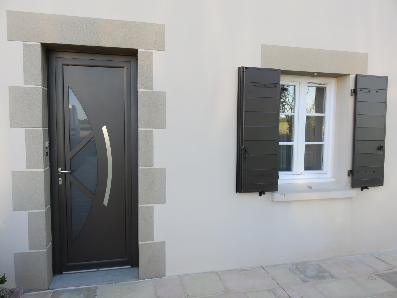 porte d'entrée et volet battant brun 2650 sablé